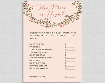 Printable Price is Right Game, Peach Wreath Baby Shower Game, Rustic Chic Digital Shower Game, INSTANT DOWNLOAD