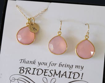 6 Pink Bridesmaid Initial Necklace and Earring set, Bridesmaid Gift, Blush Pink Gemstone, 14k Gold Filled, Initial Jewelry, Personalized