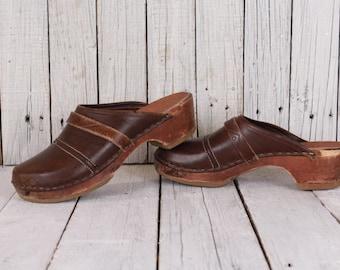 70s clogs, Wooden clogs, Old clogs, Platform 70s shoes, Clogs chunky platform shoes, Genuine leather shoes - Size EU 39 / UK 5.5 / US 8