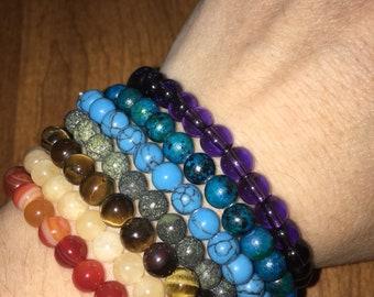 Chakra stack gemstone bracelets  6mm