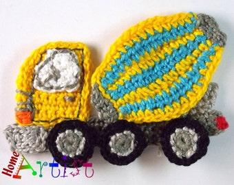 Crochet Applique cement truck