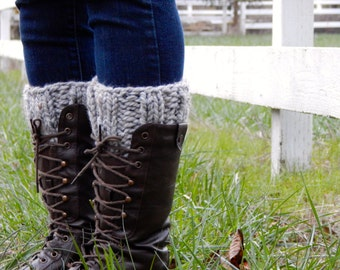 Boot Cuff Socks Leg Warmers Boot Warmers / Bull Run /in Gray Marble