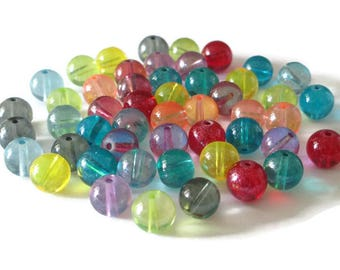 50 transparent beads shiny glass 10mm mix color
