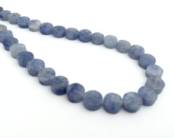 6mm Flat Coin Bead, Loose Gemstone Spacer, Flat Round Bead, Semiprecious Stone, Natural Stone, Blue Adventurine, 50pcs, PS007