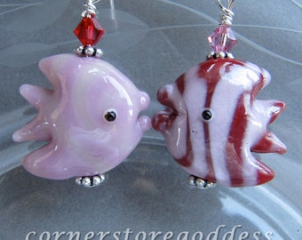 Lampwork Glass Pink Red Angel Fish Earrings by Cornerstoregoddess