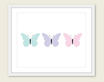 Butterflies Art Print - Butterfly Wall Art - Baby Girl Nursery Art - Pastel Wall Art - Butterfly Art - Nursery Decor Nursery Wall Art