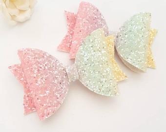 Rainbow glitter bow/ pastel bow/ girls bow/ hair bow/  hair clip/ glitter bow/ pastel glitter bow/ baby headband/ baby bow/ rainbow bow
