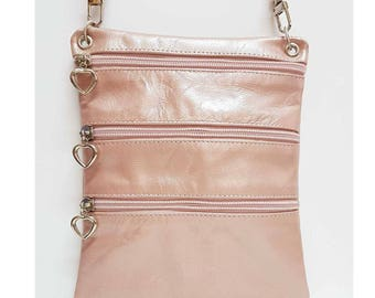 Blush Pink Leather Mini Crossbody, Festival Bag, Travel Pouch / Passport Pouch, Small Shoulder Bag, Pink Leather Bag, Evening Bag, Belt Bag
