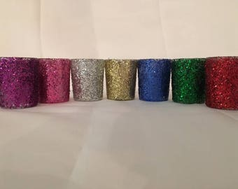Glitter Candle Holders, Party Favors, Wedding Decorations, Wedding Centerpiece, Table Candles