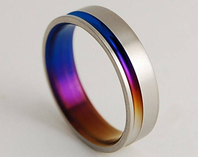 Cosmos Band in Bronze , Mystic Purple and Nightfall Blue , Wedding Band , Titanium Ring , Promise Ring , Titanium Wedding Band