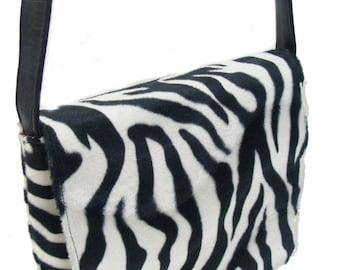 US Handmade Animal Print Zebra Pattern Messenger Bag Pattern Shoulder Bag Purse, Black and White Color,New