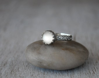Rose Cut Moonstone Ring in Sterling Silver -  RoseCut Moonstone Gemstone Ring - Handcrafted Artisan Silver Ring