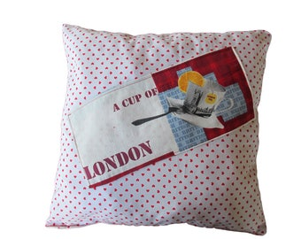 """""""Cup of tea"""" cushion in 100% cotton fabric"""
