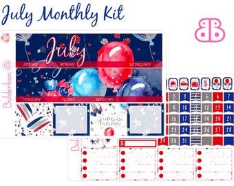 Juli monatlichen Kit, Juli-Aufkleber, Planer Kit, Erin Condren, Erinnerungen, Sticker, 4. Juli-Aufkleber