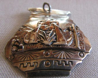 Sterling Silver Pendant with Coyotes and Desert Scene