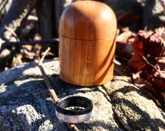 Deer Antler Carbon fiber wedding ring, Men's Ring, Wedding Band, Wedding Ring