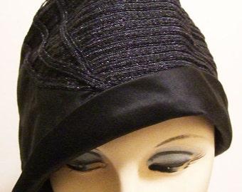 "22"" - Vintage Blue Horsehair & Silk Womens 1920s Cloche"