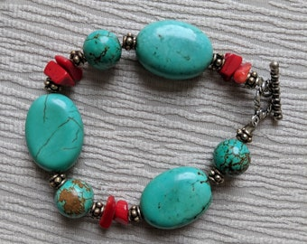 turquoise and coral bracelet, womens bracelet, turquoise bracelet, coral bracelet
