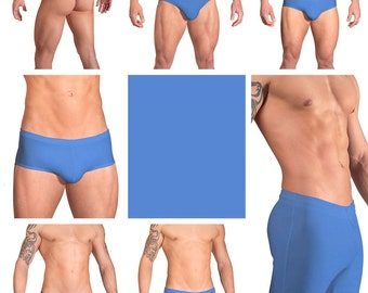 Solid Periwinkle Blue Swimsuits for Men by Vuthy Sim.  Choose Thong, Bikini, Brief, Squarecut, Boxer, or Board Shorts - 04