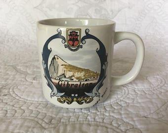 Vintage Gibraltar Souvenir Coffee Mug - European Travel Souvenir - Strait of Gibraltar - Rock of Gibraltar - Made in Korea