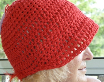 Women's chemo hat in red, made to bring a smile, all cotton crochet newsboy, unique women's fashions, red cotton hat, free shipping USA