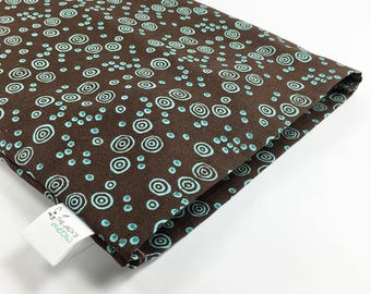 Removable Corn Bag Cover / Brown with Turquoise / Large Cover Only / Inner Bag Not Included