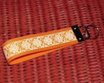 Orange Damask Keychain / Key Chain / Key Fob