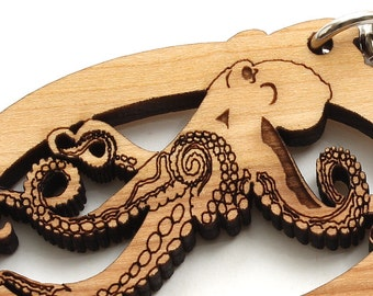 Octopus Keychain . Sea Creatures  Sustainable Black Cherry Wood . Timber Green Woods