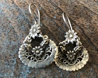 Vintage sterling Frida Kahlo inspired earrings floral drop dangle