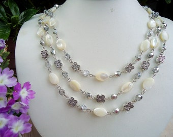 Mother of Pearl Triple Strand Necklace.Crystals.Metal plated in sterling silver.Statement.Bridal.White.Multi Layer.Gift.Birthday. Handmade.