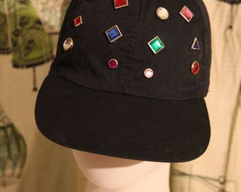 1990's Black Jeweled Hat