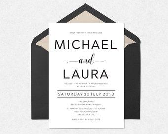 Elegant printable wedding invitation