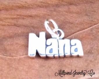Nana Charm, Nana Pendant, Nana Jewelry, Grandma Pendant, Grandma Charm, Sterling Silver Charm, Sterling Silver Pendant, SMALL