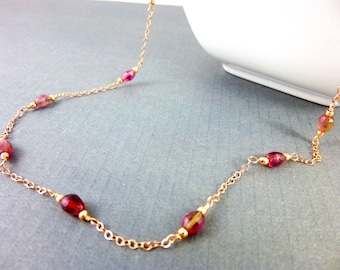 Watermelon Tourmaline Necklace, October Birthstone, 14K Rose Gold Fill Fine Jewelry Heart Chakra Necklace, Gift for Her