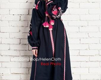 Ukrainian Linen Embroidered Dress Vyshyvanka Bohemian Dress Embroidered Ukraine Dress Flowers dress. Free Shipping
