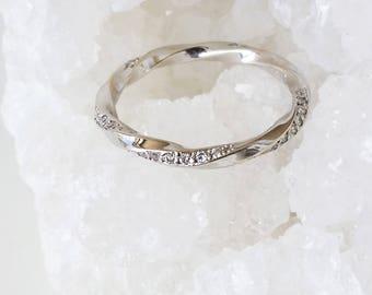 Mobius ring, Diamond mobius ring, Mobius wedding band, Pave mobius ring, Diamond Wedding ring, 18K Gold mobius band, White diamond ring, 14K