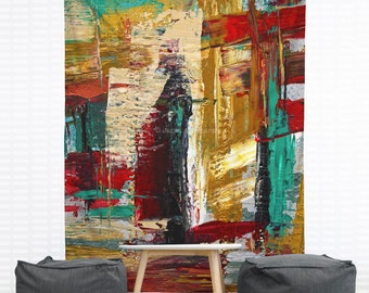 San Francisco Street Hanging Wall Tapestry. Dorm Decor, Abstract Painting, Modern Art, Red, Turquoise, Paint Splatter, Headboard Tapestry,