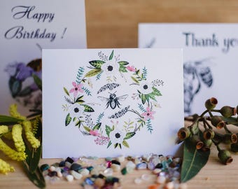 Variety of cards with a hand sketch bees.  Printed on eco friendly recycled paper. FREE with any gift pack