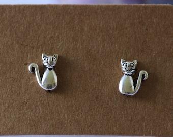 Sterling Silver Cat Stud Earrings, Stud Earrings, Kitten, Sterling Silver, Earrings, Cat, Studs, Silver Earrings, Animal, Silver, 925 silver
