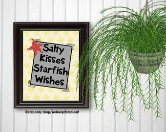 Kids Bathroom Art, Salty Kids, Starfish Wishes, Bathroom Quote, Beach House, Beach Decor, Beach Art, Wall Decor, Kids Bathroom Decor, Print
