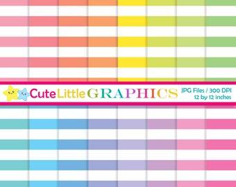 Horizontal stripes digital paper, Striped digital paper pack, Pastels striped paper, Instant download, Commercial use