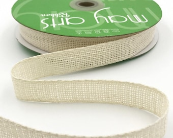 3/4 Inch Soft Open Weave Ribbon, Ivory Burlap Ribbon, Cream Burlap Ribbon . 3 yards