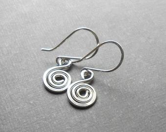 Sterling Silver Spiral Charm Dangle Earrings