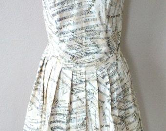 Christmas Holiday Themed Printed Circle Skirt Dress/ Joy To The World/ Pleated skirt/ Sleeveless/ White Beige Women