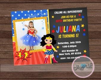 Wonder Woman Party Invitation, Wonder Woman Invitation with Photo, Wonder Woman Birthday Invitation, WW Party Invitation, Digital File.