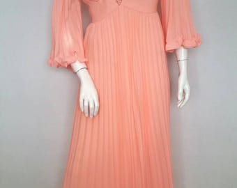 Vintage Peach Formal Gown Bridesmaid Dress Coral Pink Floor Length Ballgown