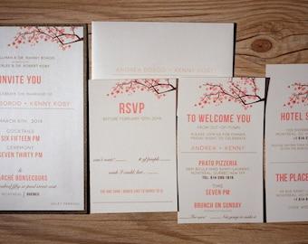 Cherry blossom Wedding Invitations, Peach Wedding Invitation, Peach wedding Invitations, coral wedding invitation, cherry blossom invitation