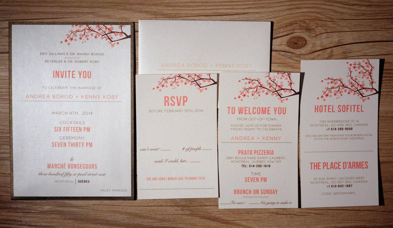 Coral and brown Wedding Invitations Peach Wedding Invitation