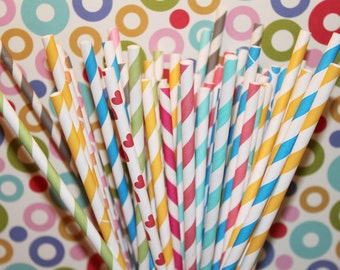 250 Paper Straws - YOU PICK your COLORS and Design - with Free printable Flag Pennants - See our Personalized Flag Option