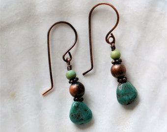 Unique Oxidized Copper and Turquoise Earrings